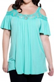 Light Blue Floral Lace Yoke Cold Shoulder Pleated Plus Size Blouse