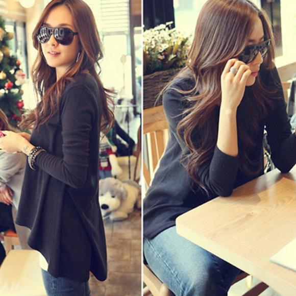 Fshion women  Basic Hollow New Autumn Winter Round Neck Long Sleeve Black Loose  T Shirt Blouse
