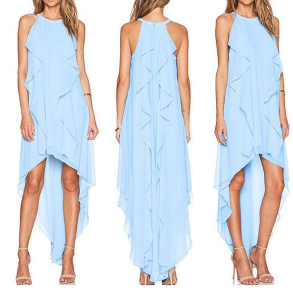 Fashion Woman Round Neck Loose Flouncing Asymmetric Hem Casual Party Chiffon Dress