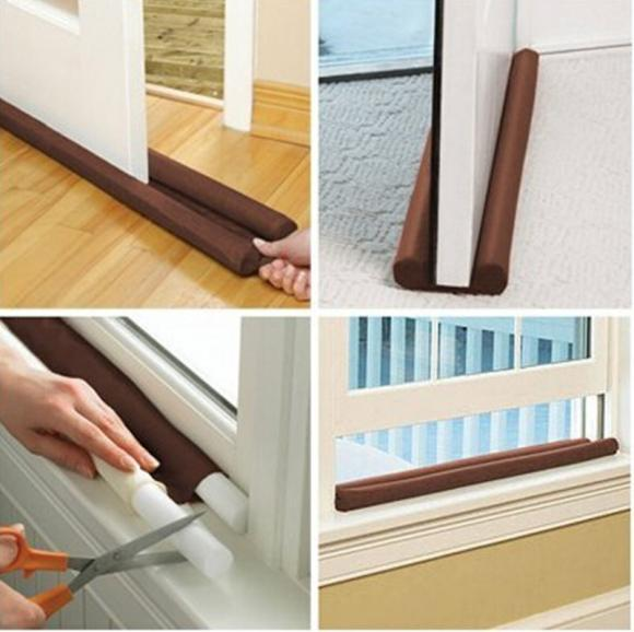 Dual Draught Excluder Twin Draft Stoppers Air Insulator Windows Doors Guard