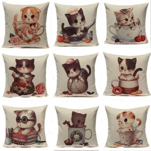 Cotton Linen Cute Cats Home Car Throw Pillow Case Cushion Cover Decoration