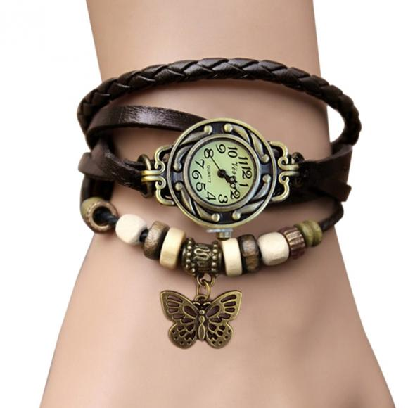 Women Leather Wrist Watch Bracelet Retro Vintage Butterfly Pendant Weave Wrap Quartz