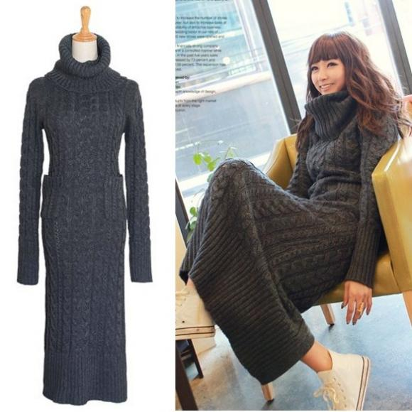 Women's Vintage Turtleneck Sweater One-piece Knit Dresses Long Slim Dress Pullover