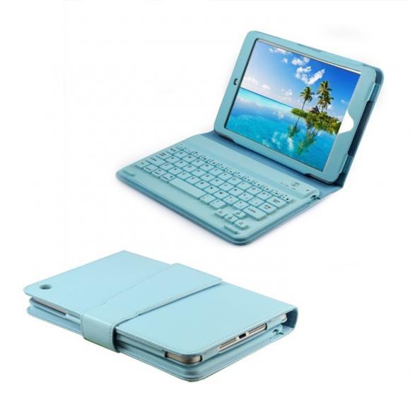 Protective Slim Lined Leather Soft Case Cover with Keyboard Built-in for Ipad Mini Blue
