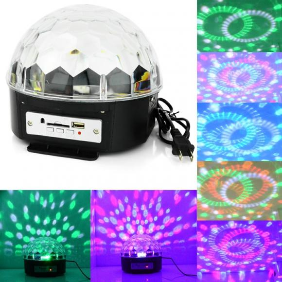 Digital RGB LED Crystal Magic Ball USB SD MP3 Remote Control Stage Effect Light 6 Patterns