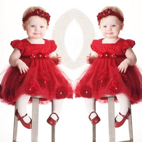Girls Kids One Piece Dress Tutu Dress Flower Birthday Gift Costume Red with Headband