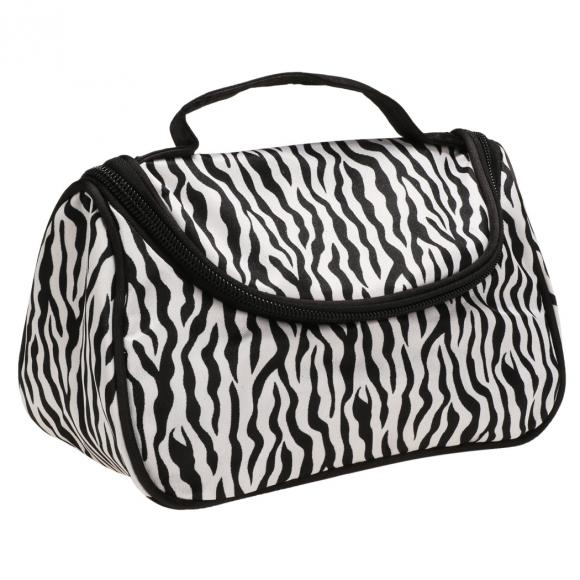 Lady Cosmetic Nail Art Tool Bag Makeup Case Toiletry Holder Storage Zebra