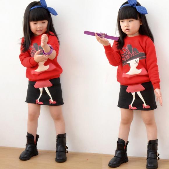 Baby Girl Kids Children's Wear Long Sleeve Warm Top Blouse Sweater + Skirt