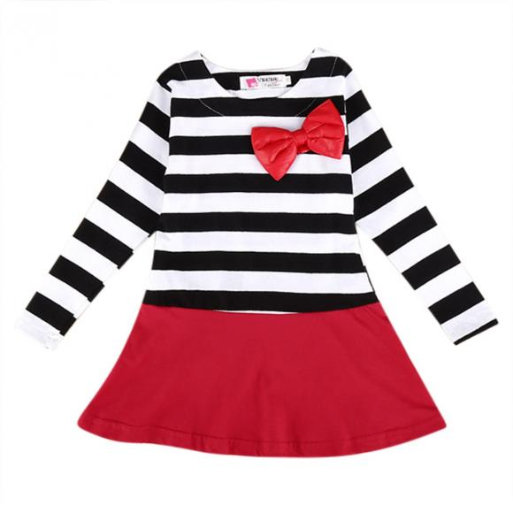 Korean Fashion Baby Girls Long Sleeve Stripe Dress Bowknot O-Neck Dress