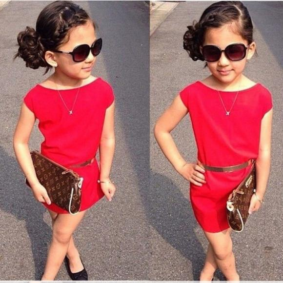 Fashion Girl Kids Children's Crew Neck Short Sleeve Summer Spring Dress