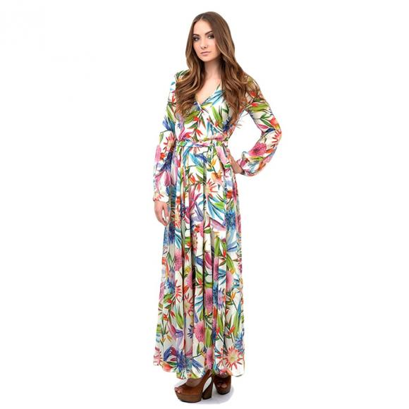 2edfc57e39b Buy Lady Women Bohemian Sexy Deep V-Neck Floral Tunic Beach Cocktail Pleated  Long Dress at Wholesale Price from FashionALot.com
