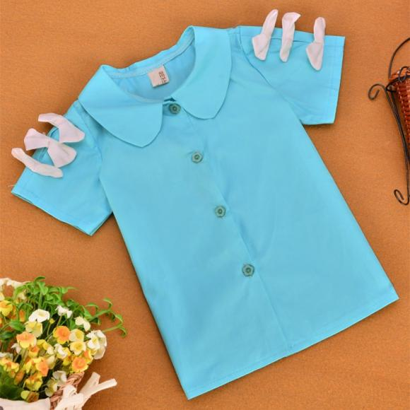 Fashion Kids Girls Peter Pan Collar Short Sleeve Solid Single-breasted Bow Shirt Tops