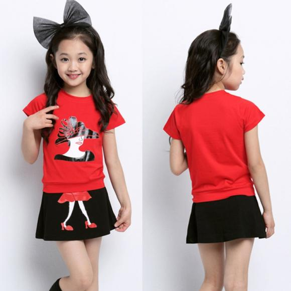 Kids Girl Wear Two Pieces Cotton Print T-Shirt Tops And Skirt Set