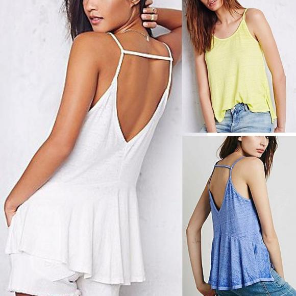 Stylish Ladies Women Spaghetti Strap V Back Solid Cool Casual Tops Blouse