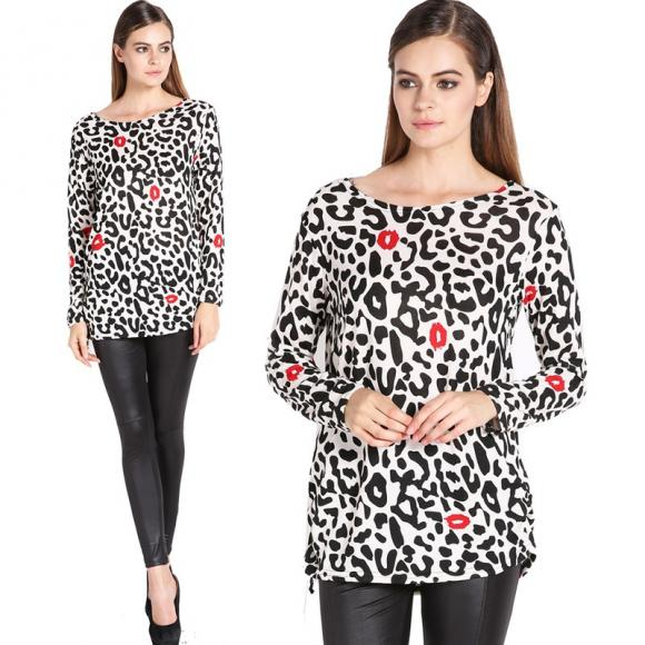 Women's Fashion Stylish Lips Leopard Pattern Loose Long Sleeve Tops Blouse Long Shirt