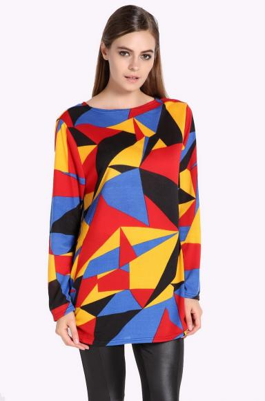 Stylish Lady Women's Geometric Pattern Contrast Color Long Sleeve Loose Blouse Tops